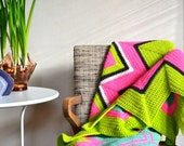 Psychedelic Zigzag Chevron Afghan Wool Neon Pink Lime Green Large Scale Ripple Blanket