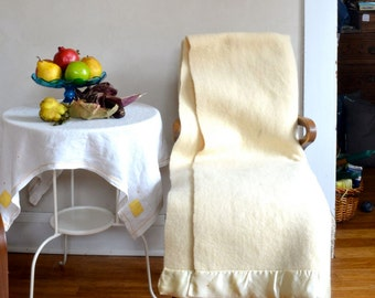 Vintage Wool Blanket White Napped Fluffy & Thick Ward's Classic