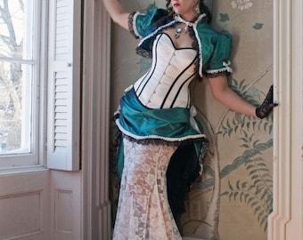 Victorian Wedding Dress | Striped Splendor | Steampunk Dress, Alternative Wedding Gown, Black and White Wedding Gown, Teal Bridal Dress