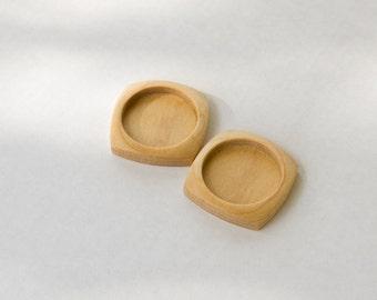 "NO Laser Hardwood Bezel Settings - Maple - 1"" - 25.5 mm - Circle - (F2c-Mp) - Set of 2"