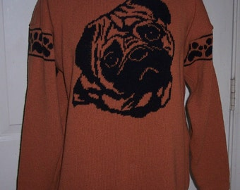Custom Knit Pug Dog Sweater ****Create your own sweater see below*****