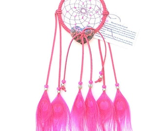Hot Pink Dream Catcher, Peacock Eyes Feathers