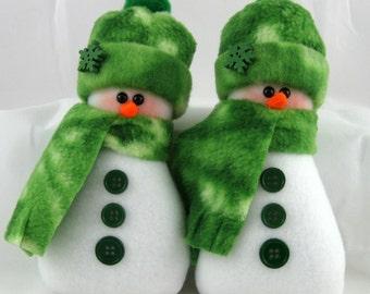 Snowman Ornaments, Set of 2, Flurrie Frizzle, Christmas Decoration, Handmade, Stuffed Snowman, Snowman Ornaments in Tie Dye Green Fleece