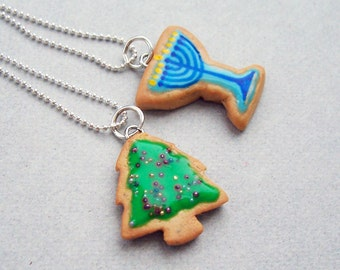 Winter Holidays Besties Necklace Set - polymer clay miniature food jewelry
