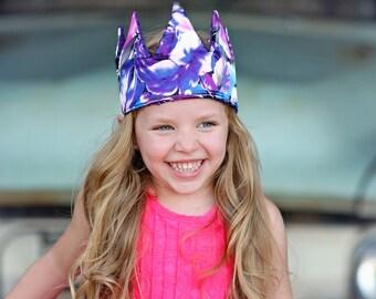 Dress Up Crown - Sequin Crown - Birthday Crown - Purple Floral Crown Reverse Purple Sequins - Fits all