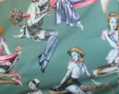 1 Yard BEAUTIES AND BRAINS Pin Up Girl Zombies Green Novelty Cotton Fabric by Alexander Henry Fabrics