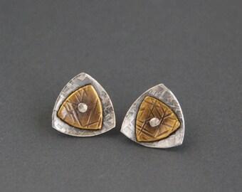 Riveted Triangle Post Stud Earrings