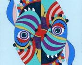 Bird/Dog - Original Reversible Acrylic Dog/Owl Art Painting