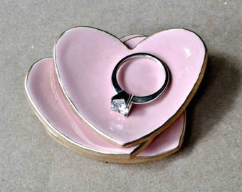 THREE Ceramic Heart Ring Dishes edged in gold itty bitty Pink