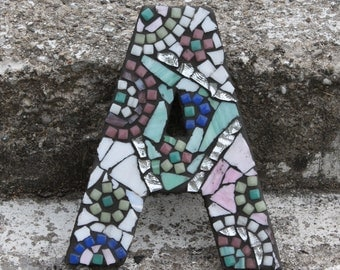 Large Letter A Stained Glass Mosaic