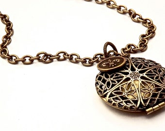 Brass Filigree Essential Oil Scent Locket Necklace
