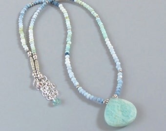 Shaded Opal Amazonite Necklace Sterling Silver Ombre Gemstone DJStrang Boho Cottage Chic Blue Green Briolette Pantone 2016