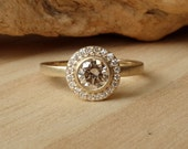 Bezel Set Diamond and Pave Halo