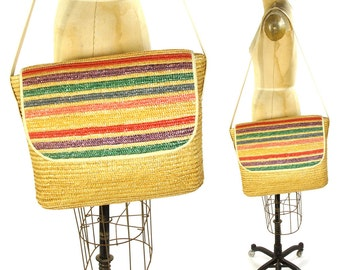 80s HUGE Woven Straw Tote Bag / Vintage 190s BIG Striped Sisal Beach Bag / Bohemian Braided Raffia Basket Messenger Bag by Koret
