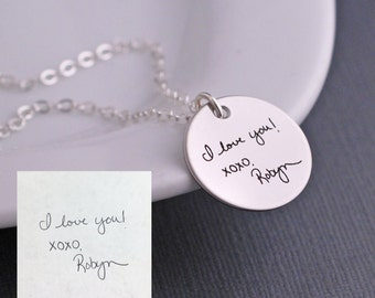 Custom Handwriting Necklace, Silver Handwriting Jewelry, Personalized Gift for Christmas, YOUR OWN HANDWRITING, Custom Message