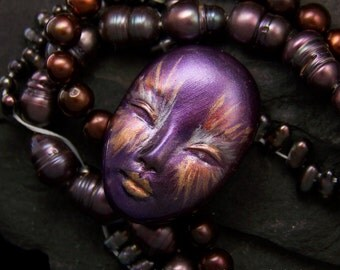 Metallic Goddess handmade Face Cab Metallic Purple, Silver, Gold, Copper, & Black Polymer Clay Cabochon