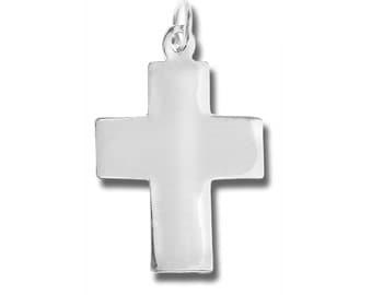 Sterling Silver Flat Shiny Latin Cross Pendant