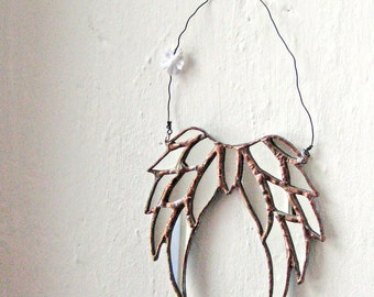 Little Shabby Angel - mirrored stained glass hanging angels wings MADE TO ORDER