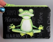 Yoga Frog - Change Purse - Zippered Pouch - Coin Purse - Black - Green - Frog - Inspirational Words - Yoga Positions - Meditation