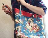 Tote bag set, deluxe tote, magnet clasp bag, shoulder bag purse, womans gift, bag with wallet, floral bag, bike inner tubes, blue bag, #138