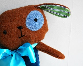 Dog Plushie in Blue Velveteen and Brown Tweed