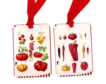 Heirloom Tomatoes , Hot Peppers , Gift Tags , Jar Tags , Red and White Tags , Canning Labels , Home Made Salsa Tags , Red Chili Peppers