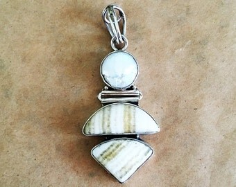 Freshwater Pearl, Jasper and Sterling Silver Pendant (Item #P77)