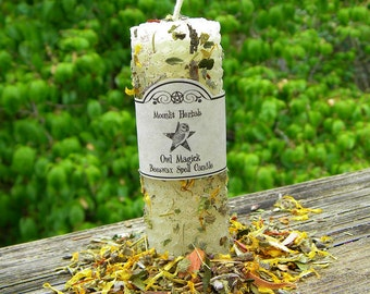 Owl Magick Beeswax Spell Candle - Wisdom, Knowledge, Prophecy, Divination, Clarity, Totem Animal, Revealing That Which is Hidden, Pagan