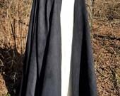 Black Long Cloak -  Full Circle Microsuede Medieval Renaissance Cloak - Interchangeable Clasp