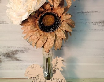 French Country Rooster and Burlap Floral Arrangement, One Of A Kind Farmhouse Country Decor
