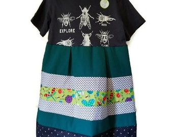 Bugs Galore! Girls Glow in the Dark Handmade Dress, Size 7, by We Wear What We Want!