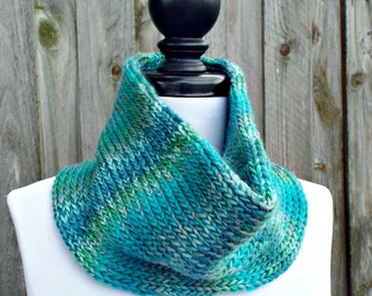 Double Knit Circle Scarf Womens Scarf - Blue Cowl Blue Scarf - Cowl Scarf Womens Accessories Spring Fashion - READY TO SHIP