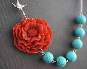 Statement Necklace Turquoise Necklace Poppy Necklace Flower Necklace Red Necklace Turquoise Jewelry Bridesmaid Jewelry  Rustic Necklace