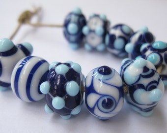 Artisan Lampwork Beads SRA Blue and White