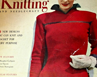 Knitting Patterns Sweaters Cardigans and Accessories 1949 Men Women Children Smart Knitting 6th Edition Vintage Paper Original NOT a PDF