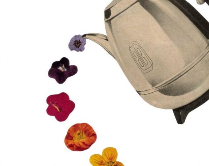 Kitsch Kitchen Floral Coffee Art, Retro Coffee Pot Artwork