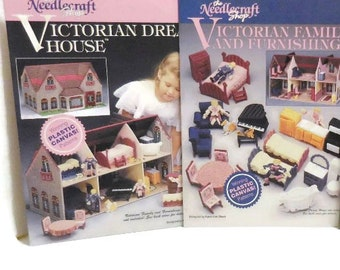 Two Victorian Dream House and Victorian Family And furnishings Plastic Canvas Instruction Books