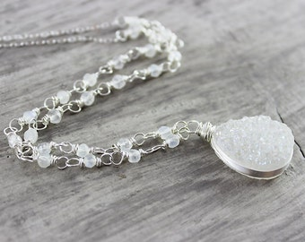 White Druzy Gemstone Necklace, Sterling Silver Necklace, Wire Wrap Necklace, Drusy Pendant Necklace, Bridal Wedding, Teardrop Necklace