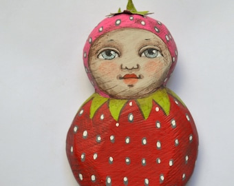 Original Hand-Painted Anthropomorphic Strawberry Wooden Sculpture Folk Art Christmas Ornament OOAK