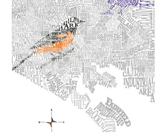 Baltimore Neighborhood map with Raven/Oriole 11x14in print