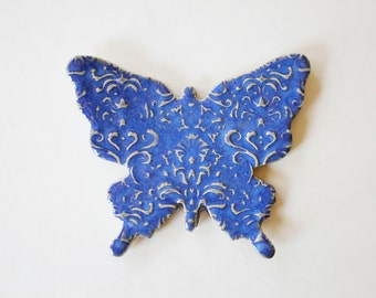 Indigo Blue Butterfly Ring Dish or Spoon Rest