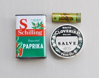 3 Vintage Empty Tins - Tums antacid , Schilling paprika, White Cloverine salve - old metal containers