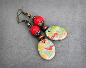 Vintage inspired Artisan earrings. Colorful red dangle earrings. Handmade polymer clay drops, antiqued copper, brass
