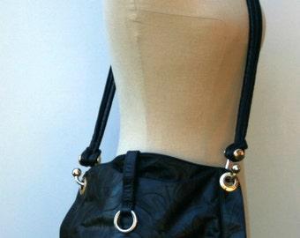 Vintage Black Leather Bag Purse Eighties handbag Boho Bohemian woman bag, vintage genuine leather bag, leather purse, woman purse, black bag