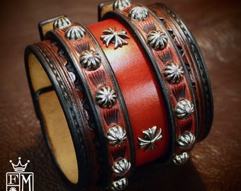 Leather Wrist Cuff Cherry Red Traditional American Cowboy ROCKSTAR Bracelet made for YOU in NYC by Freddie Matara