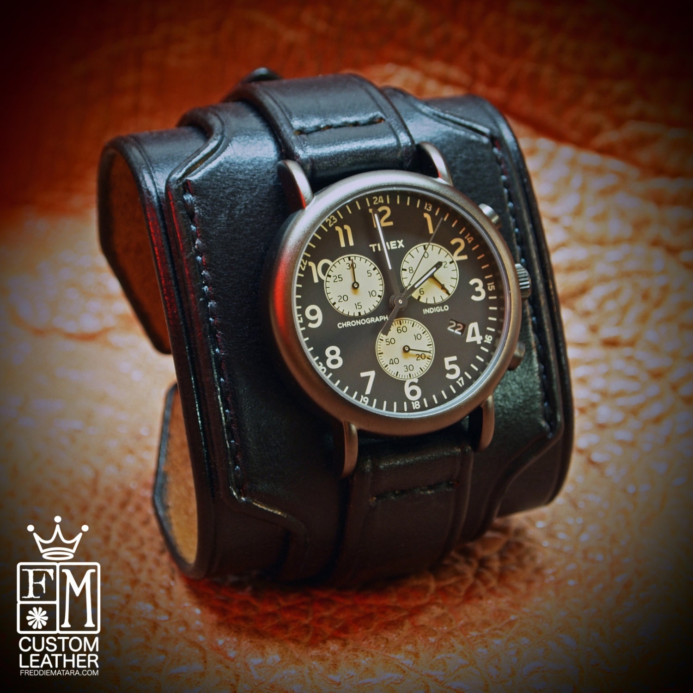 black leather cuff slick layer vintage style