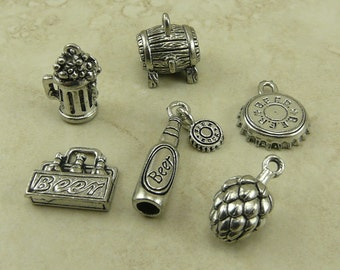 6 Beer Brew Mix Pack of Charms > Craft Brewery Home IPA Lager Raw Unfinished American Made Lead Free Silver Pewter I ship internationally
