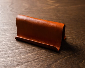 Leather Business Card Holder / Display - Tan