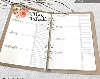 Printable Weekly Planner, A5 Weekly Planner, Printable A5 Organizer Notebook Weekly planner inserts, PDF file