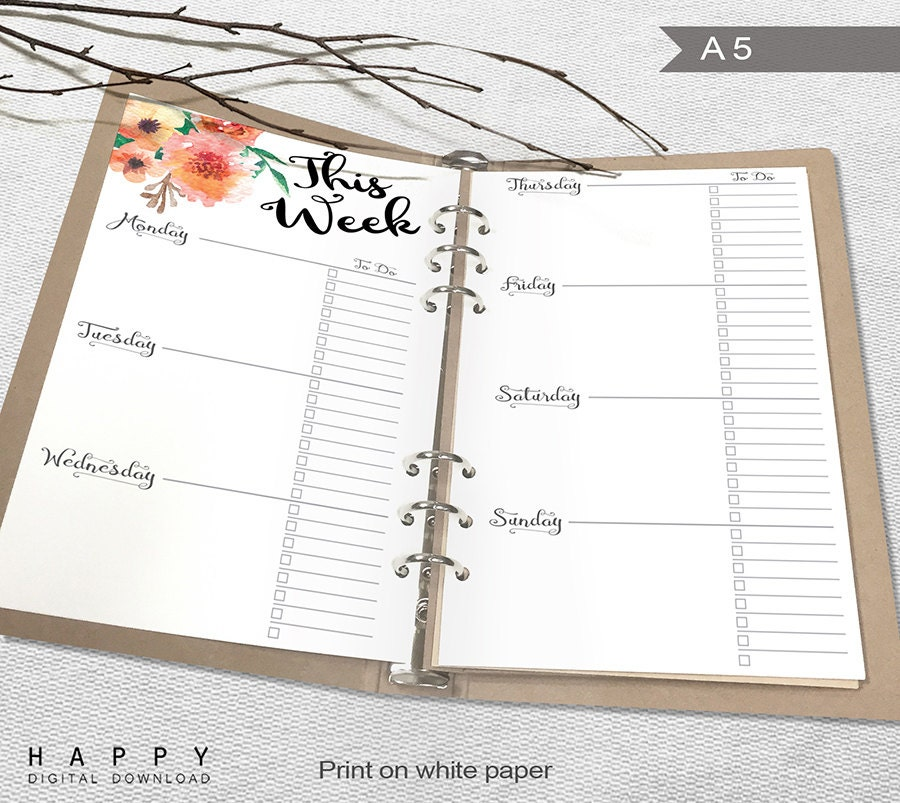 Effortless image in a5 planner printables